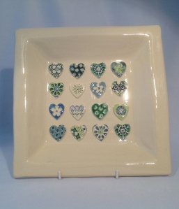 Blue Green Hearts Square Dish